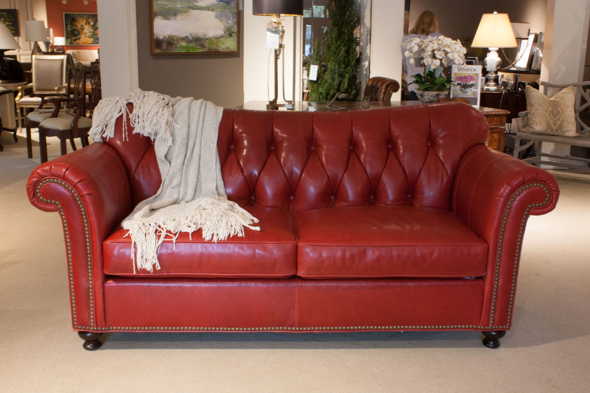 Sherrill Red Leather Sofa